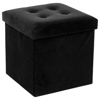 Pouf coffre pliable capitonné velours noir 38x38
