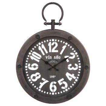 Horloge ronde forme montre gousset avec contour et cadran en métal noir 24,5x33,5x4,5cm