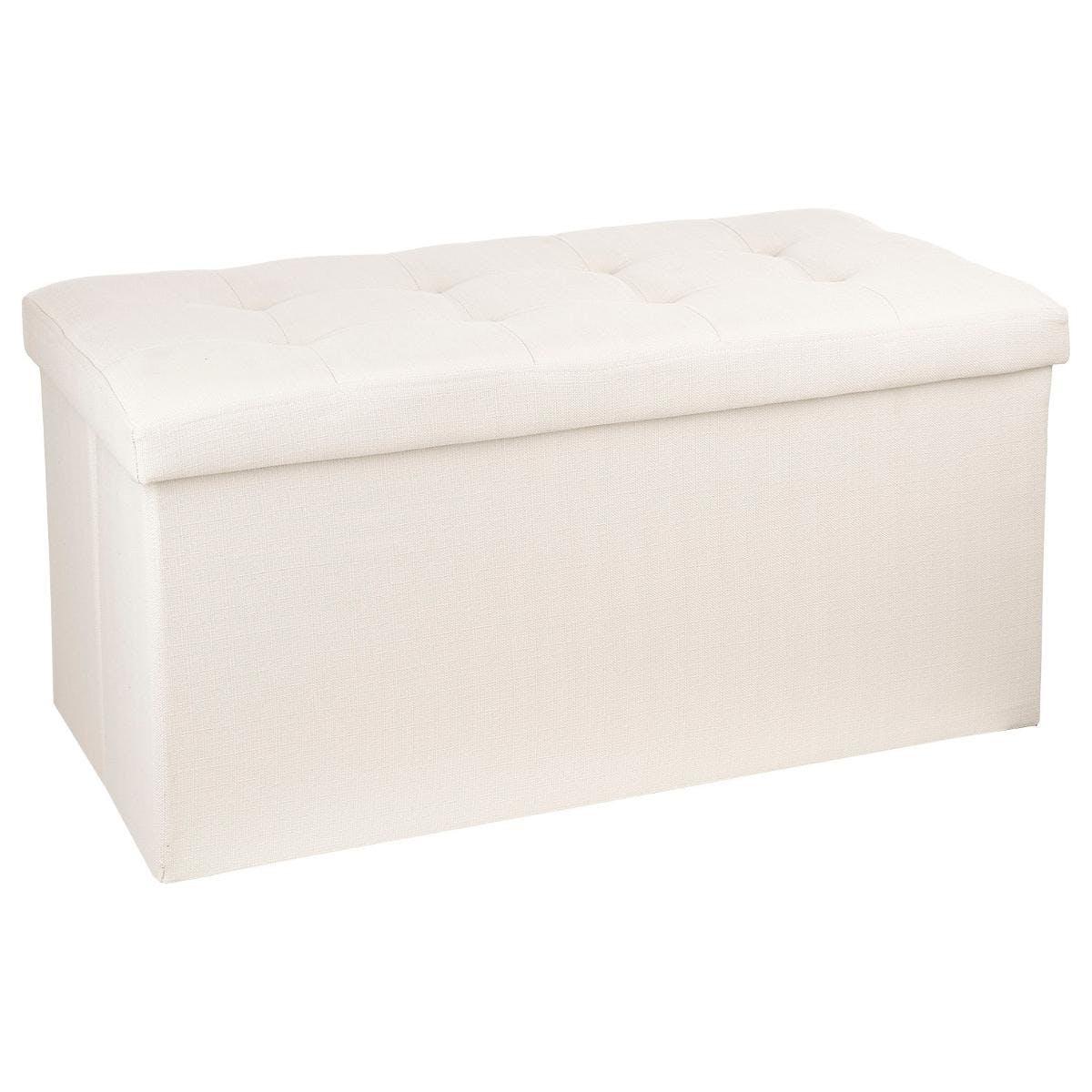 Banc coffre de rangement pliant avec revêtement en tissu beige et structure en MDF 76X38X38cm