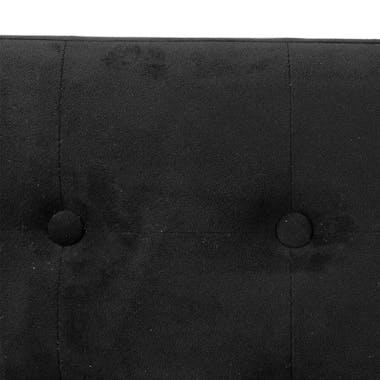 Banc coffre de rangement pliant avec revêtement en velours noir et structure en MDF 76X38X38cm