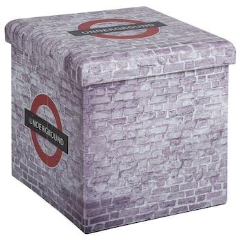 Pouf coffre de rangement pliant Londres avec revêtement en polyuréthane et structure en MDF 38X38X37,5cm