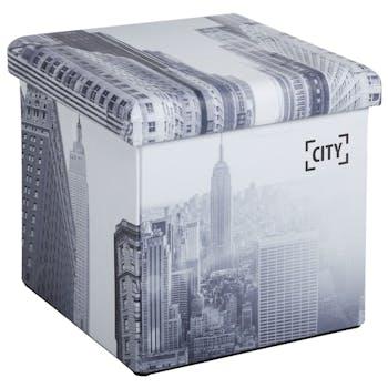 Pouf coffre de rangement pliant City avec revêtement en polyuréthane et structure en MDF 38X38X37,5cm