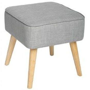 Pouf Tabouret carré avec revêtement en tissu gris 40X40cm