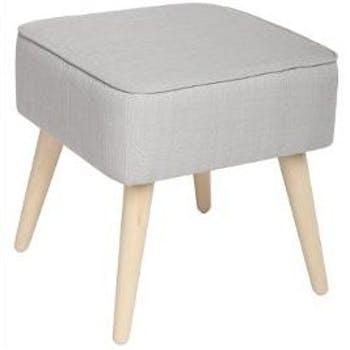 Pouf Tabouret carré avec revêtement en tissu gris clair 40X40cm