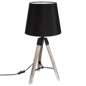 Lampe en bois grisé forme trépied et abat-jour coton noir D28xH58cm