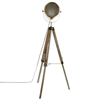 """Lampadaire """"Cinéma"""" métal couleur bronze et pied bois forme trépied D60xH152cm"""