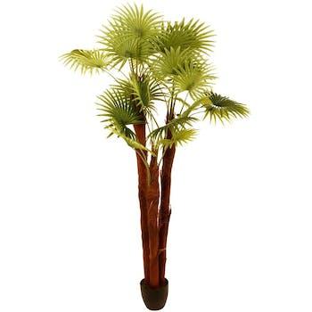 Palmier multi tiges en pot rond noir larges feuilles dentelées tissu polyester H180cm