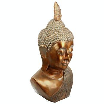 Buste de Bouddha en pierre reconstituée et finition cuivrée vieil or patiné 60x46xH113cm