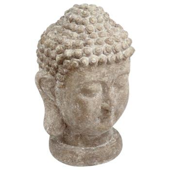Tête de Bouddha en ciment façon pierre D26xH40cm