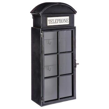 Boîte à clés forme cabine téléphonique en métal gris anthracite et carreaux en verre 24x13x58cm