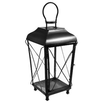 Lanterne forme trapèze en métal et fil métal noir et verre à suspendre par crochet 32,5x32,5xH72cm
