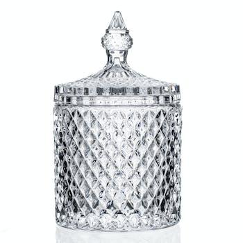 Bonbonnière ronde en verre ciselé façon diamant D10xH18cm