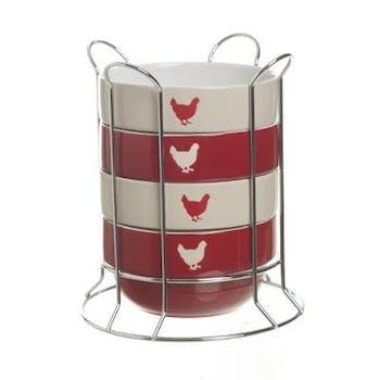 Bols en céramique écru et rouge décor poule avec support en métal chromé
