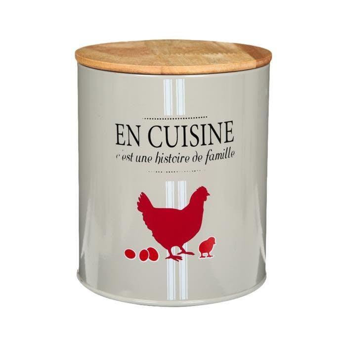 Boite ronde en métal écru et couvercle en bois décor poule rouge 13xH15,5cm