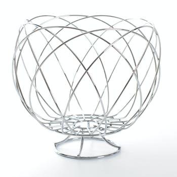 Corbeille ronde forme nid en métal chromé