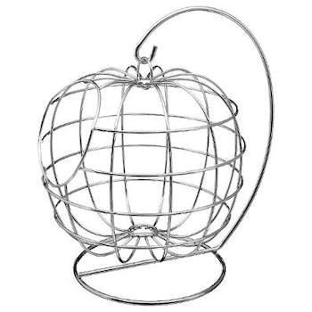 Corbeille forme pomme suspendue en métal chromé