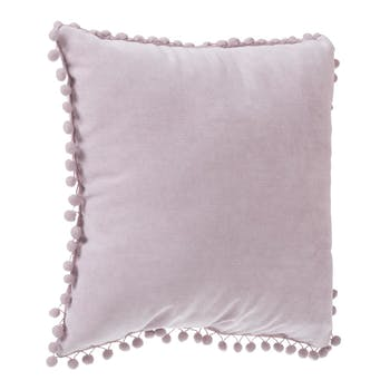Coussin carré bords pompons rose 40X40cm