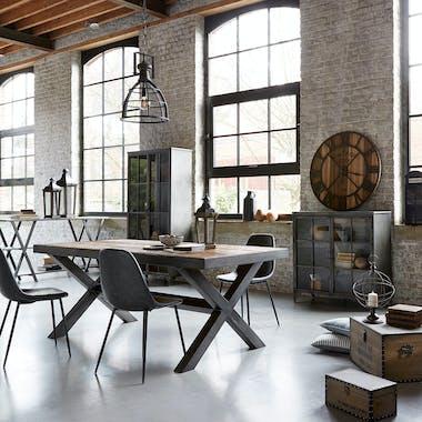 Lot de 2 chaises PU gris effet vieilli pieds métal noir 53x43x82cm