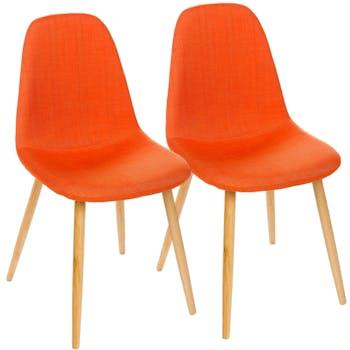 Lot de 2 Chaises inspiration Scandinave couleur corail pieds hêtre 45X53X86