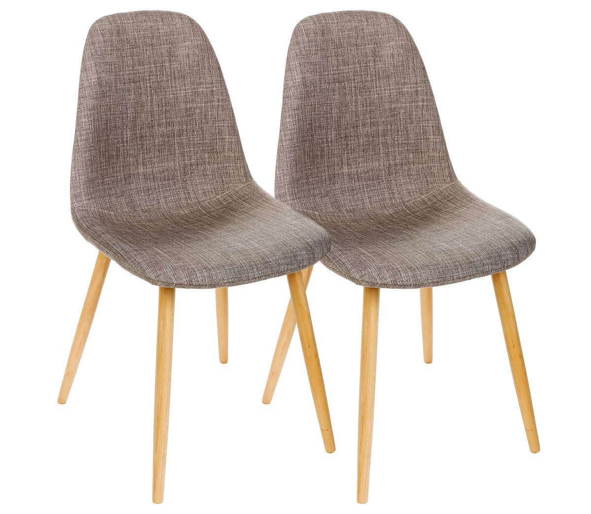 Lot de 2 Chaises inspiration Scandinave couleur lin pieds hêtre 45X53X86