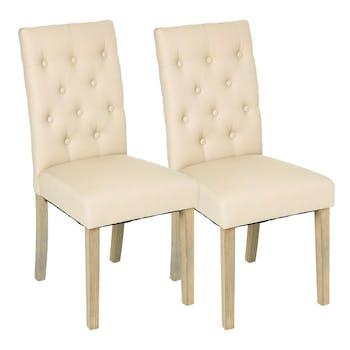 Lot de 2 Chaises moderne tissu beige dossier capitonné pieds bois