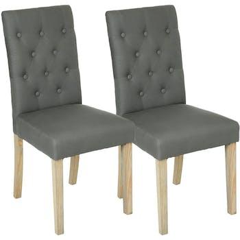 Lot de 2 Chaises moderne tissu gris dossier capitonné pieds bois