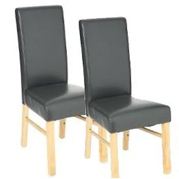 Lot de 2 Chaises moderne revêtement gris pieds hévéa naturel