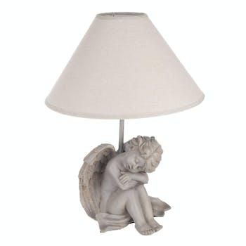 Lampe charme pied Ange en résine grise et abat-jour écru D29,5xH40cm - Modèle A