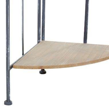 Etagère d'angle 4 étages métal grisé blanchi et plateaux bois 31x31xH131cm