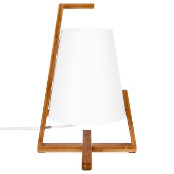 Lampe moderne à poser en bambou et abat-jour blanc D21xH32cm