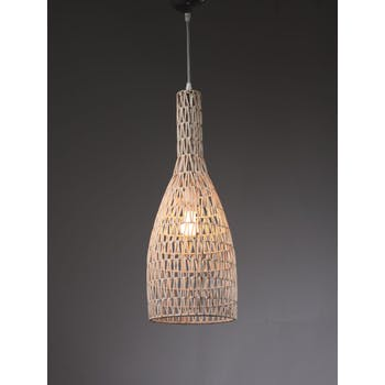 Lampe suspension en rotin ajouré forme cône D22xH63cm