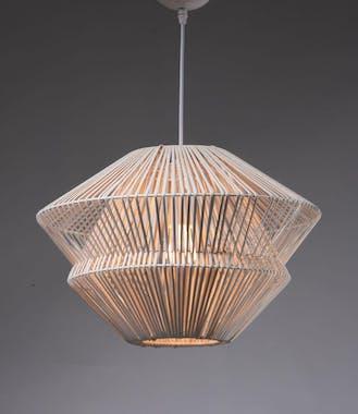 Lampe suspension en rotin ajouré forme évasée D45xH30cm