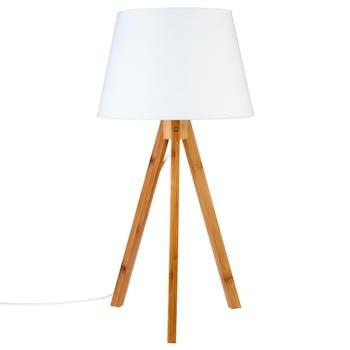Lampe en bambou forme trépied et abat-jour coton blanc D28xH55cm