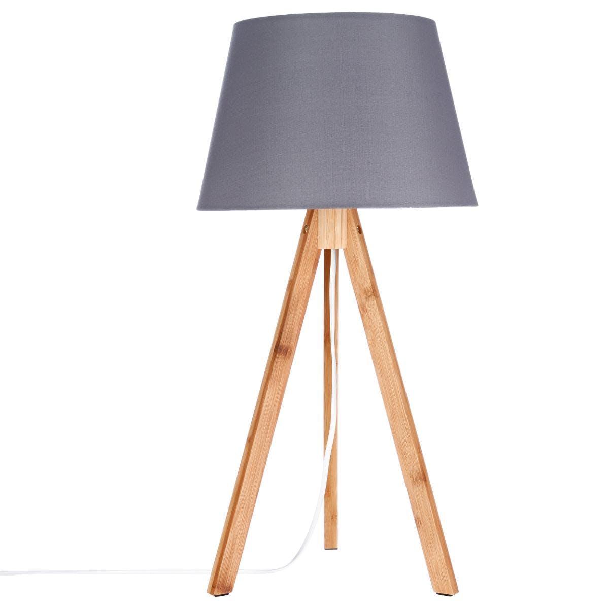 Lampe en bambou forme trépied et abat-jour coton gris foncé D28xH55cm