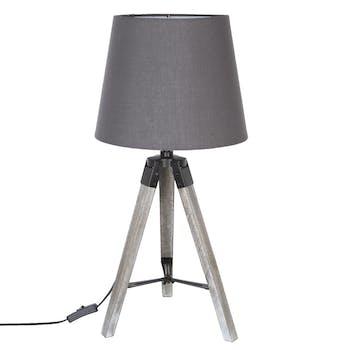 Lampe en bois grisé forme trépied et abat-jour coton gris D28xH58cm