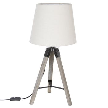 Lampe en bois grisé forme trépied et abat-jour coton couleur lin D28xH58cm