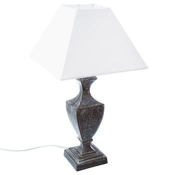 Lampe bois patiné et abat-jour forme trapèze couleur écrue 26x26xH50cm