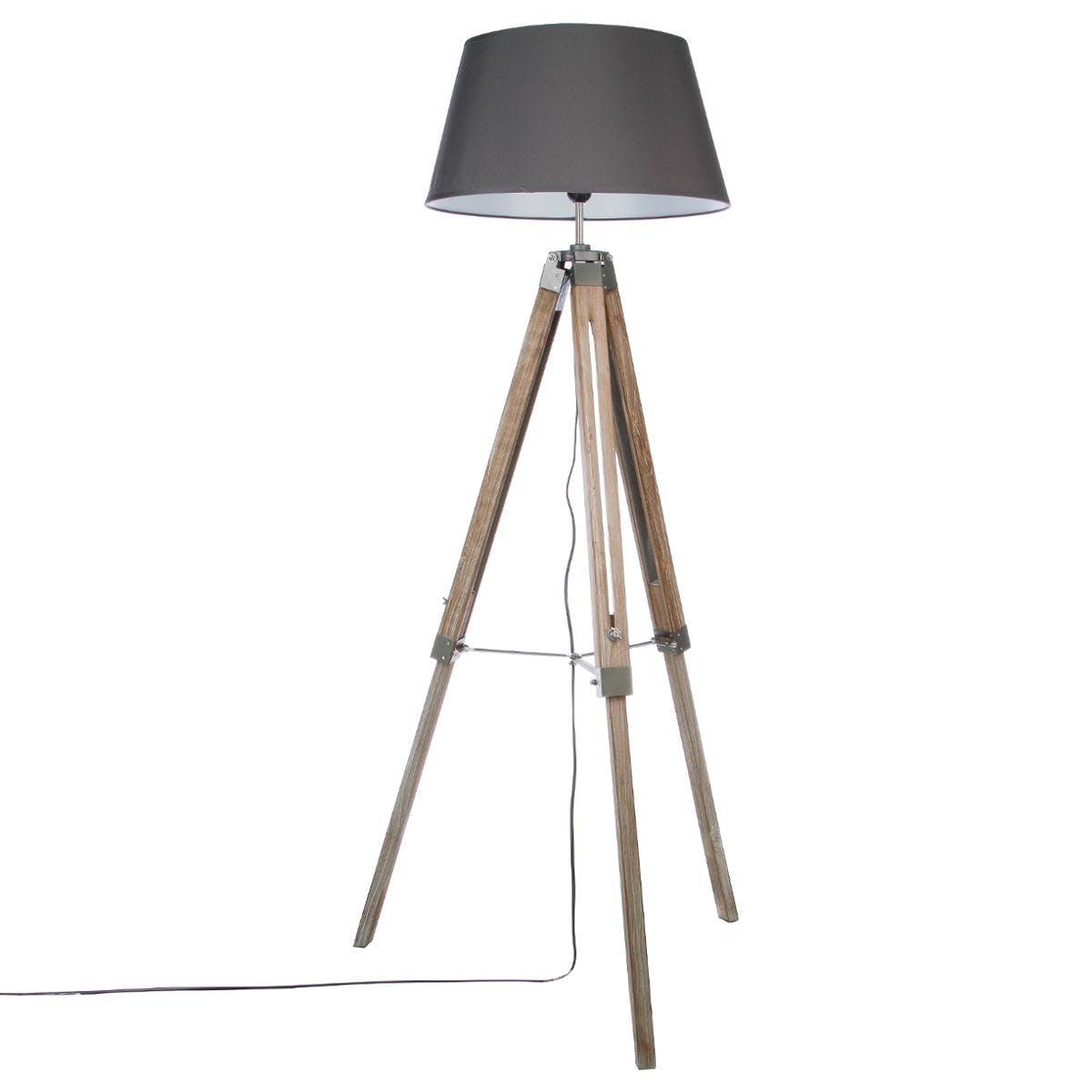 Lampadaire en bois patiné grisé forme trépied et abat-jour gris H145cm