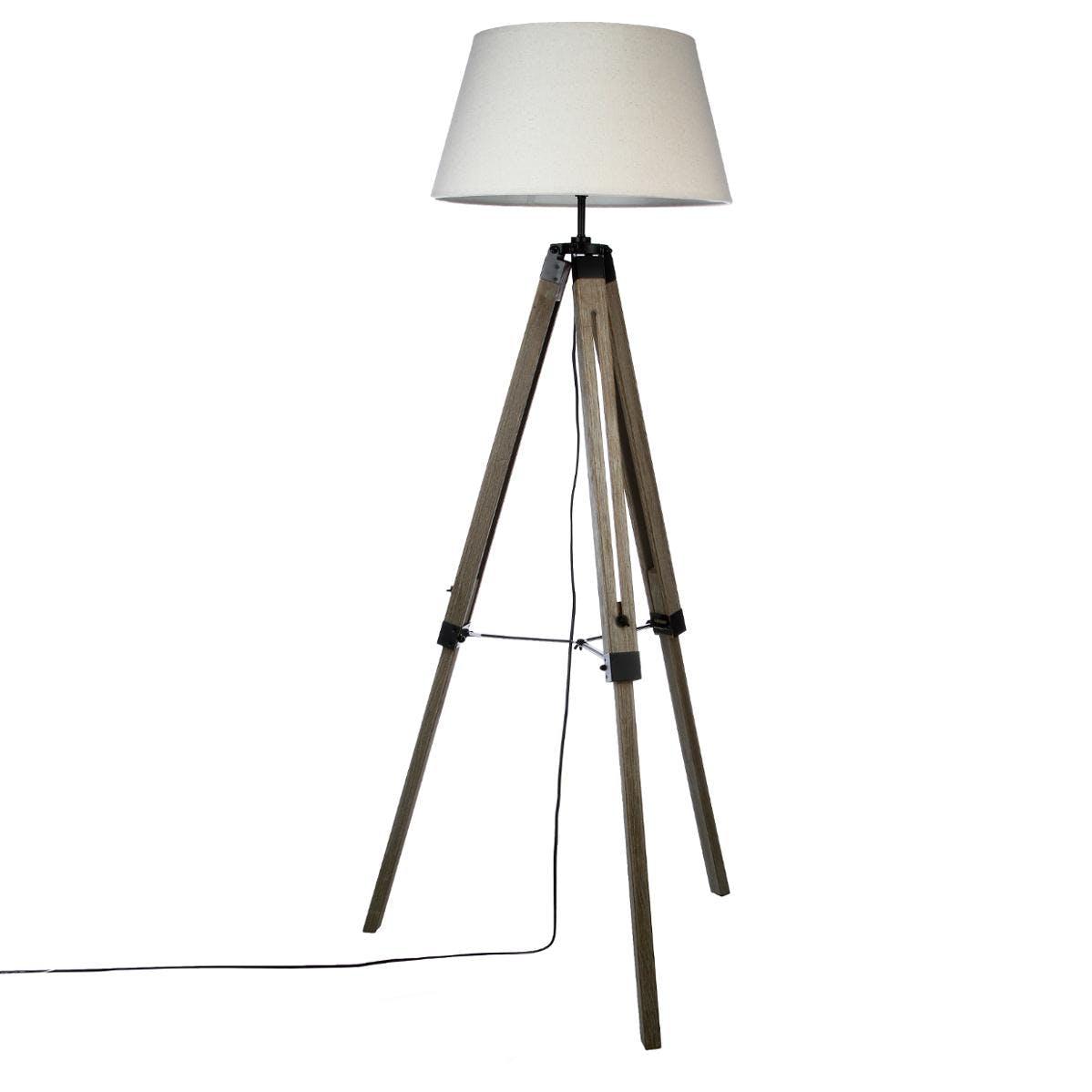 Lampadaire en bois patiné grisé forme trépied et abat-jour couleur lin H145cm