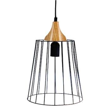 Suspension en métal fil noir forme cylindre et base bois D23xH32cm