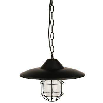 Suspension en métal noir et verre façon lanterne et chaîne D30xH20cm