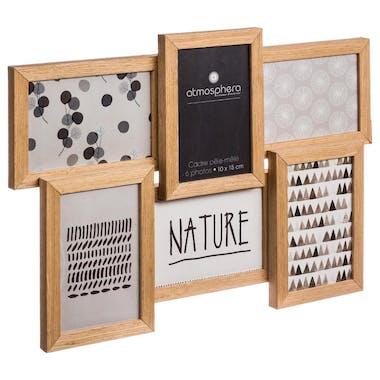 Cadre Pêle-Mêle bois naturel 6 photos 41x31cm