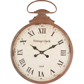 "Horloge Gousset métal marron effet vieilli ""Vintage Clock"" D52xH70cm"