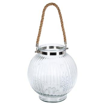 Photophore boule en verre strié et poignée corde D26xH28cm