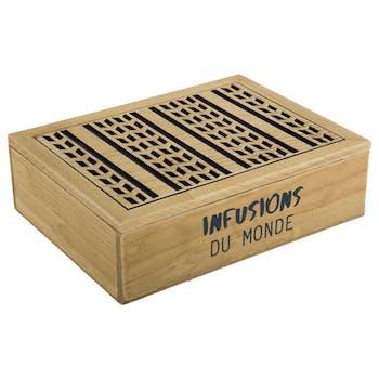 """Boite à thé compartimentée en bois naturel et motifs gravés """"Infusion du Monde"""" 24x18x7cm"""