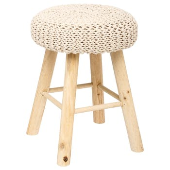 Tabouret / Pouf assise en maille coton beige et pieds bois D30xH41cm