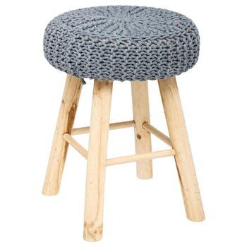 Tabouret / Pouf assise en maille coton gris et pieds bois D30xH41cm