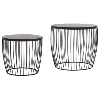Lot de 2 tables d'appoint en métal fil noir et plateau bois amovible D55XH50cm