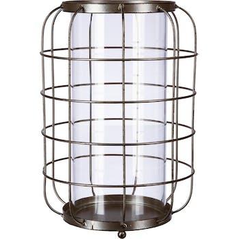 Lanterne métal ovale grillage effet vieilli et verre D7xH25cm
