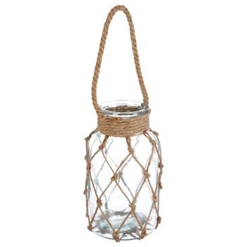 Photophore verre entouré de corde style macramé D14xH26cm